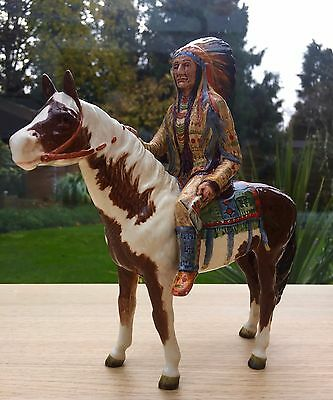 Beswick Mounted Indian on Skewbald Horse Model1391 - Excellant