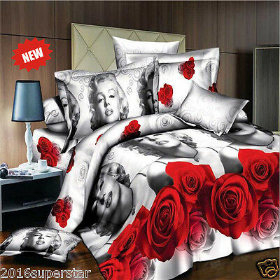 3D Marilyn Monroe Sheet Duvet Cover Comforter Cover Set Queen Size Sexy Red Rose