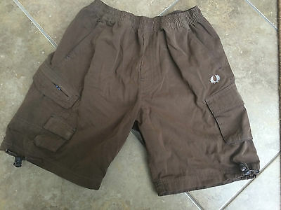Fred Perry Sport Trunks Shorts Size Kids Large Boys 26 28 Waist Casual Brown