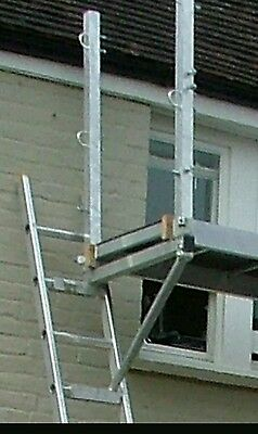 Ladder safety devices double corner post & centre hand rail for Staging System