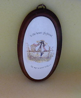 Retro Vintage Holly Hobbie Porcelain Wood Wall Plaque Oval 1970's Hollie Hobby