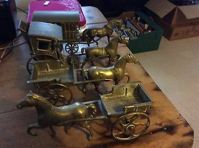4 brass horse and carts