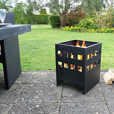 La Hacienda Square Black Steel Modern Novo Fire Basket Wood Burner Patio Heater