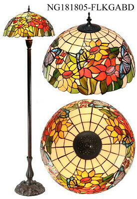 "Large 18"" Sunflower Butterfly Tiffany  Stained Glass Handcrafted Floor Lamp"
