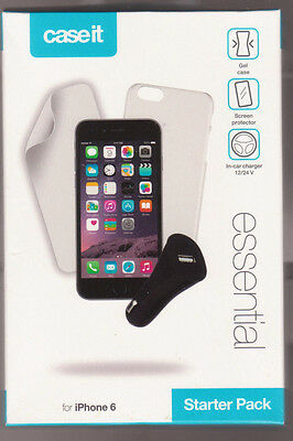 Case it - iPhone 6 - Starter Pack - Gel Case + Car Charger + Screen Protector