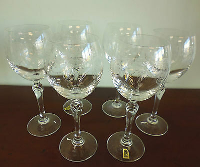 """6 Slovakia """"Catherine"""" Engraved Glass Goblets - Boxed"""
