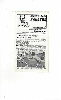 QPR v Swansea League Cup Football Programme 1966/67