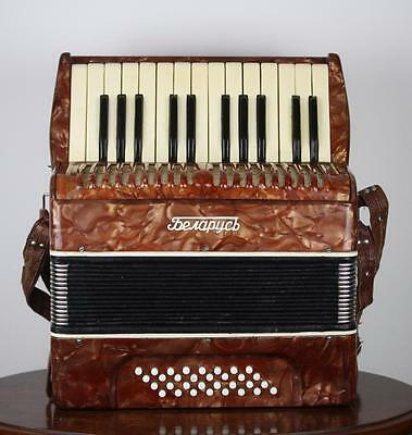"Vintage Soviet USSR Accordion ""Belarus"" with Original Case"