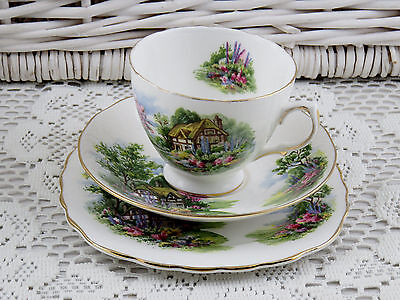 Royal Vale Vintage Bone China Tea Cup & Saucer Plate Trio Cottages