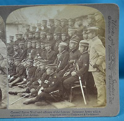 Stereoview Photo Russo-Japanese War General Baron Nogi Etc Port Arthur China 中国