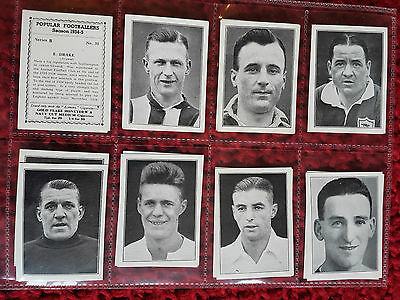 SET - R&J HILL 1935 cigarette tobacco cards POPULAR FOOTBALLERS B SERIES