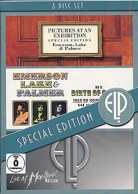 EMERSON LAKE & PALMER Pictures at an Exhibition Isle of Wight at Montreux 3 DVDs
