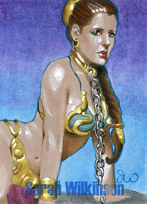 Star Wars Slave Leia Carrie Fisher Sketch Card PSC Sarah Wilkinson