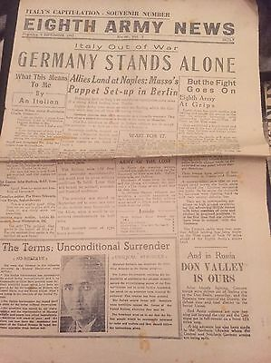 OLD VINTAGE NEWSPAPER 9 Sep 1943 Italys Capitulation -souvenir Number eight Army
