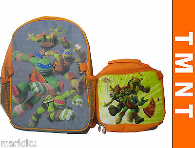 New Teenage Mutant Ninja turtles TMNT  Backpack Rucksack ORANGE with lunch bag