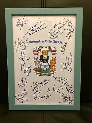 Coventry City FC 2017 Hand Signed Framed A4 Autograph Sheet,EFL Trophy Final