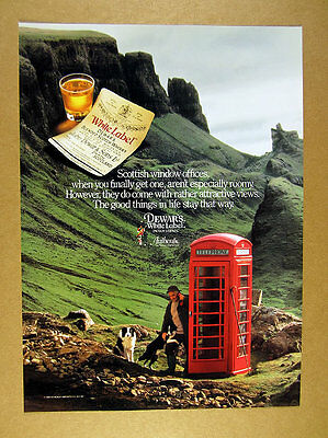 1989 Border Collie dogs & red Telephone Booth photo Dewar's Scotch print Ad