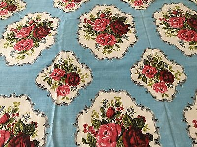 1950s/1960s VINTAGE COTTON BARKCLOTH FABRIC - GORGEOUS RED ROSES ON BLUE