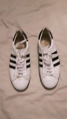 adidas white leather mod bowling shoes size 8.