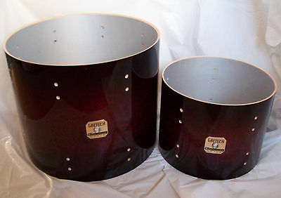 Gretsch Renown Maple Cherry Burst Lacquer 2 x Tom Shells 12 x 9 and 16 x 13