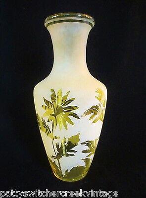 """KELSEY MURPHY Pilgrim Etched Glass-Yellow DAISY 13"""" Vase-Signed #GS 3055 1996"""