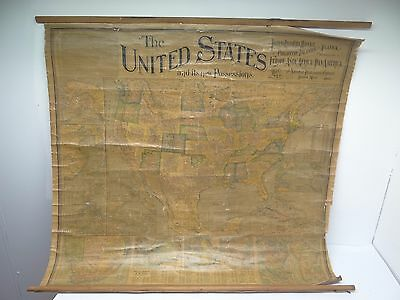 Old 1900 National Publishing Company United States & Its New Possessions US Map