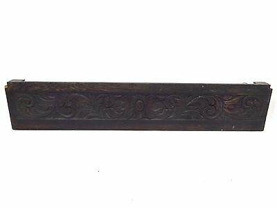Antique Old Hand Carved Wood Single Board Scrolled Decorative Bed Headboard Part