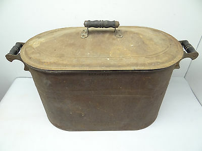 Antique Metal Tin Copper Bottom Rochester NY Kindling Holder Wood Bucket Basin