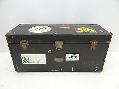 Vintage Used WW Winship Traveling Goose Boston Black Leather Steamer Trunk Case