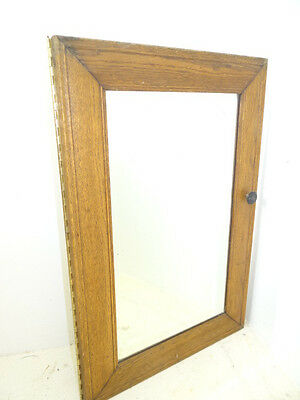 Vintage Used Old Wood Wooden Beveled Glass Door Furniture Mirrored Cabinet