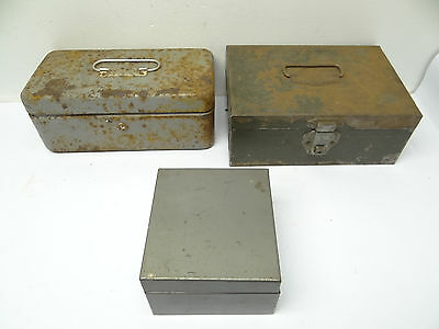 Mixed Vintage Lot Three Old Metal Lit-Ning & Unbranded Storage Boxes Containers