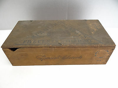 Vintage Old Spanish Cheroots 5 Cents Straight Waitt & Bond Wood Wooden Cigar Box