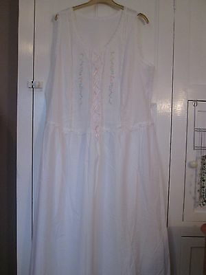 "Vintage Cotton Nightdress/night Chest 46"". Pastel Embroidery, Ribbon & Lace Trim"