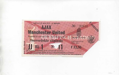 TICKET - Ajax v Manchester United 1976 1976/77 UEFA Cup