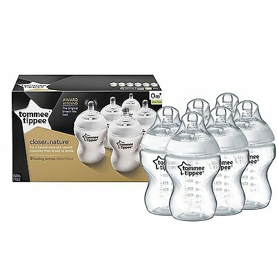 Tommee Tippee Closer to Nature 260 ml 9 oz Feeding Milk Baby Bottles 6 Pack NEW