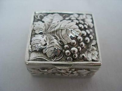 Exquisite Square Repousse Decorated Sterling Silver Pill Box London 1975 import.