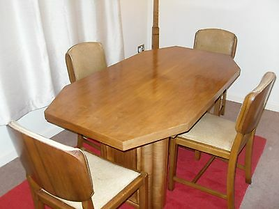 Art deco 1930s walnut dining table  with four walnut chairs