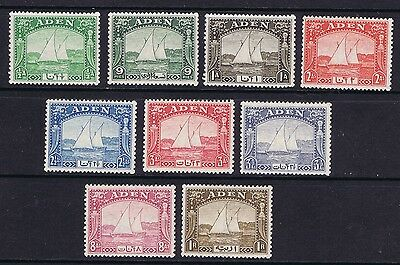 Aden 1937 Dhow Set of 9 Values SG 1-9 mint lightly hinged