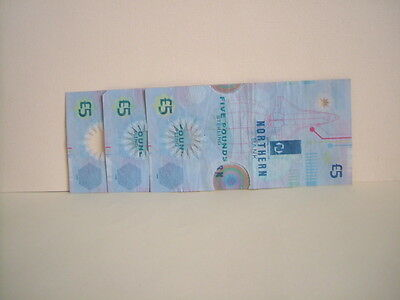 3 Northern Bank Plastic / Polymer £5 / Five Pound Note . Milennium  Edition