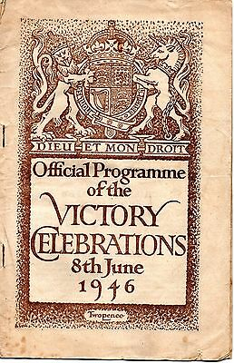 WW2 - OFFICIAL VICTORY CELEBRATION PROGRAMME 8th June 1946