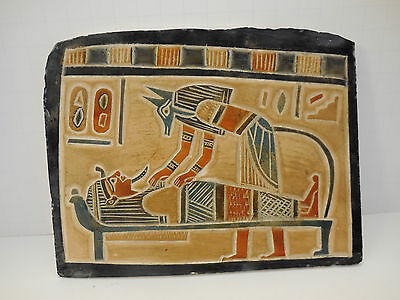 Egyptian Plaque Anubis and Mummy from Luxor Handpainted Valley of the Kings