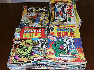 181 Bronze Age Spider-Man & Mighty World Of Marvel Incredible Hulk UK Comics Lot