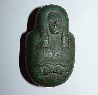 Vintage Egyptian Human-Headed Heart Amulet- form of an Ancient Egyptian Pharaoh