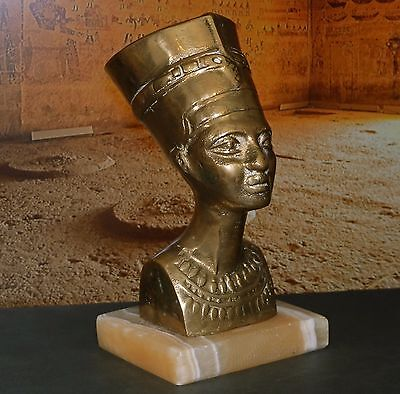 Vintage Egyptian Solid Brass Nefertiti Bust Statue of Ancient Bust, Onyx base