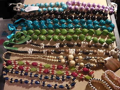 Wholesale Lot Of 11 Pieces Conk Shell Kukui Nut Wood Lumbang Long Necklaces More