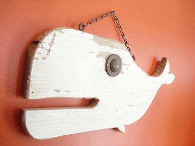 Reclaimed Rustic Weathered Wood Whale Beach Home Decor Sign