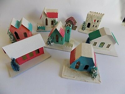 Vtg Christmas Decoration Made in Japan Cardboard Village Churches Stained Glass