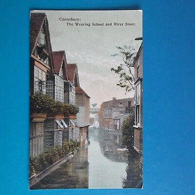 Old Postcard of Canterbury. The Weaving School and River Stour.