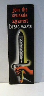 WW2 Home Front SAVE Bread Waste Book Mark
