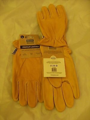 2 X Town & Country Superior Leather Gardening Gloves Large   Tgl408L